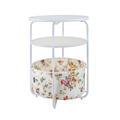 Round Wooden Side Table   3 Tiers With a Book Storage Canvas Basket Bag - YELLOW