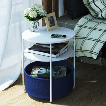 Round Wooden Side Table   3 Tiers With a Book Storage Canvas Basket Bag -  BLUE