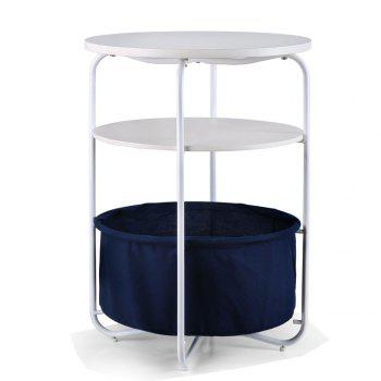 Round Wooden Side Table   3 Tiers With a Book Storage Canvas Basket Bag - BLUE BLUE