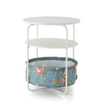 Round Wooden Side Table   3 Tiers With a Book Storage Canvas Basket Bag - LIGHTBLUE LIGHTBLUE