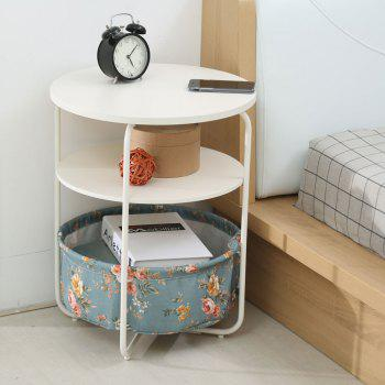 Round Wooden Side Table   3 Tiers With a Book Storage Canvas Basket Bag - LIGHTBLUE