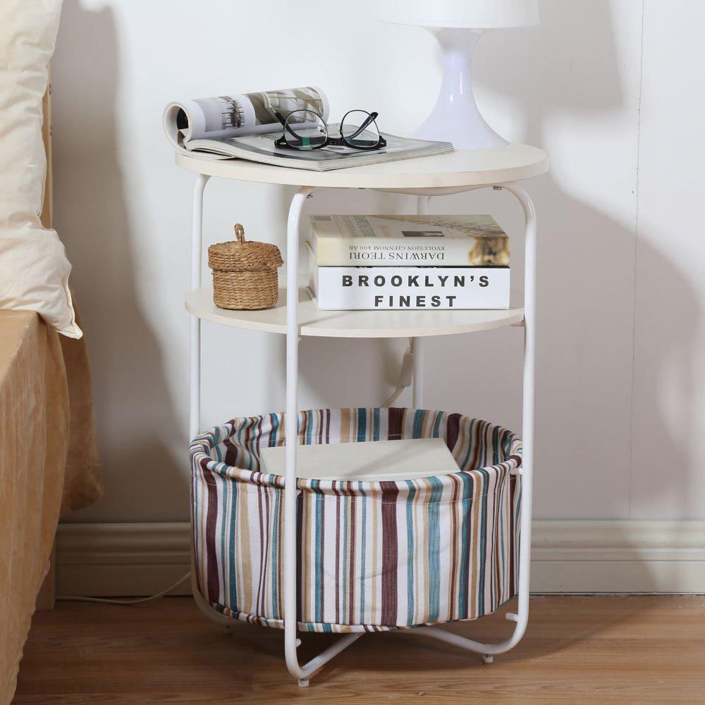 Round Wooden Side Table   3 Tiers With a Book Storage Canvas Basket Bag - BROWN