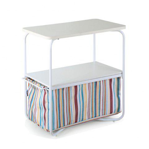 Rectangular Wooden Side Table   3 Tiers With a Book Storage Canvas Basket Bag - COLORMIX