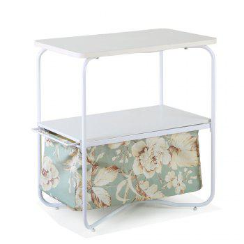 Rectangular Wooden Side Table   3 Tiers With a Book Storage Canvas Basket Bag - GREEN GREEN
