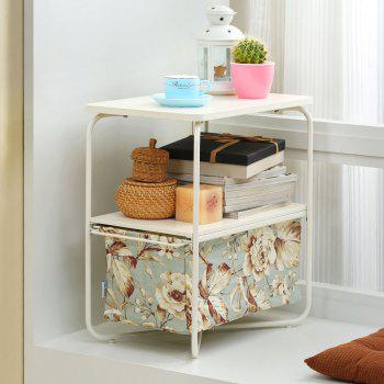 Rectangular Wooden Side Table   3 Tiers With a Book Storage Canvas Basket Bag - GREEN