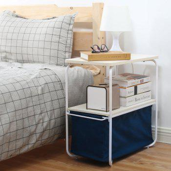 Rectangular Wooden Side Table   3 Tiers With a Book Storage Canvas Basket Bag - BLUE