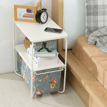 Rectangular Wooden Side Table   3 Tiers With a Book Storage Canvas Basket Bag - LIGHTBLUE