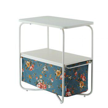 Rectangular Wooden Side Table   3 Tiers With a Book Storage Canvas Basket Bag - LIGHTBLUE LIGHTBLUE