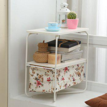 Rectangular Wooden Side Table   3 Tiers With a Book Storage Canvas Basket Bag -  YELLOW