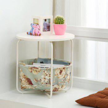 Round Wooden Side Table   2 Tiers With a Book Storage Canvas Basket Bag - GREEN