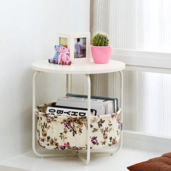 Round Wooden Side Table   2 Tiers With a Book Storage Canvas Basket Bag -  YELLOW