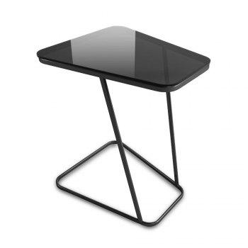 C-Shape End Table Small Side Table Computer Tray Table for Living room / Bedroom, Toughened Glass Top - BLACK BLACK