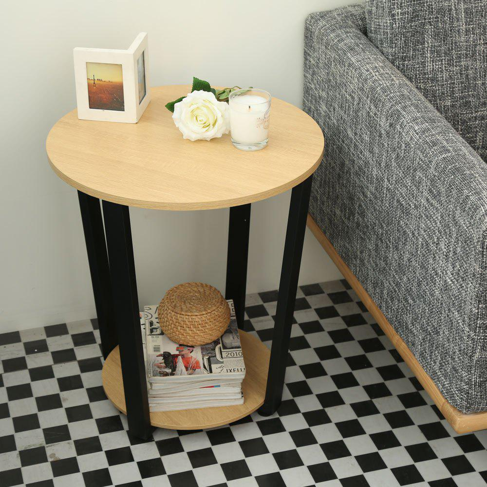 Wooden Desktop Round Table Living Room Side Table Coffee Table - YELLOW