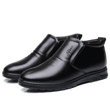 Casual Leather Business Shoes for Men - BLACK 43