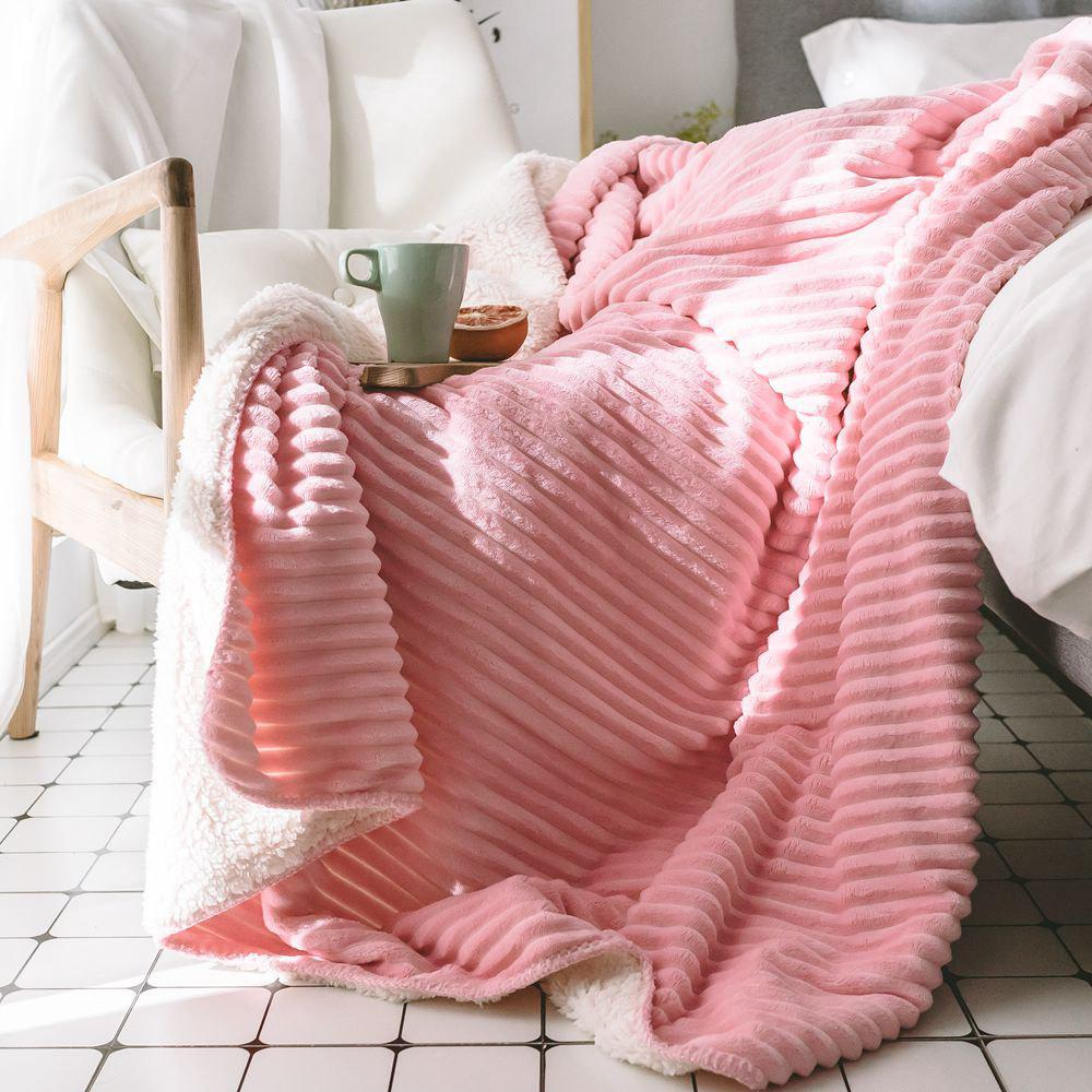 The New Product is Simple and Pure Color Thickened Warm Lamb Blanket - PINK 100CM X 150CM