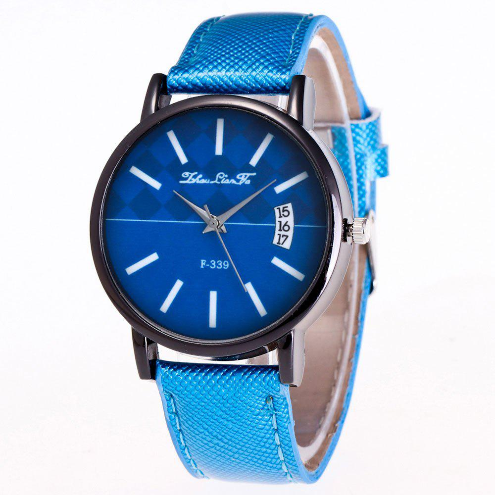ZhouLianFa New Trend Black Dial Crystal Grain Business Casual White Quartz Eye Watch - BLUE
