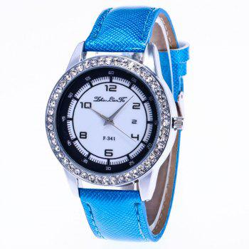 ZhouLianFa New Trend of Diamond Crystal Grain Business Casual Black and White Quartz Watch with Gift Box - BLUE BLUE