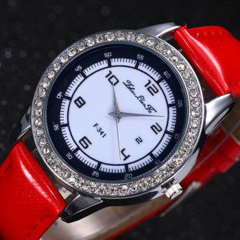 ZhouLianFa New Trend of Diamond Crystal Grain Business Casual Black and White Quartz Watch with Gift Box - RED