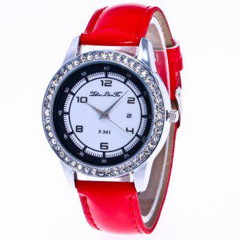 ZhouLianFa New Trend of Diamond Crystal Grain Business Casual Black and White Quartz Watch with Gift Box - RED RED