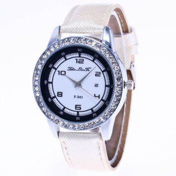 ZhouLianFa New Trend of Diamond Crystal Grain Business Casual Black and White Quartz Watch with Gift Box - WHITE WHITE