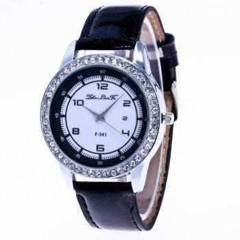 ZhouLianFa New Trend of Diamond Crystal Grain Business Casual Black and White Quartz Watch with Gift Box - BLACK BLACK
