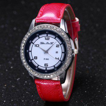 ZhouLianFa New Trend of Diamond Crystal Grain Business Casual Black and White Quartz Watch with Gift Box -  ROSE RED