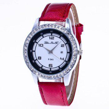 ZhouLianFa New Trend of Diamond Crystal Grain Business Casual Black and White Quartz Watch with Gift Box - CLARET CLARET