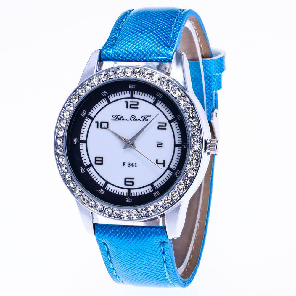 ZhouLianFa New Trend of Diamond Crystal Grain Business Casual Black and White Quartz Watch with Gift Box - BLUE