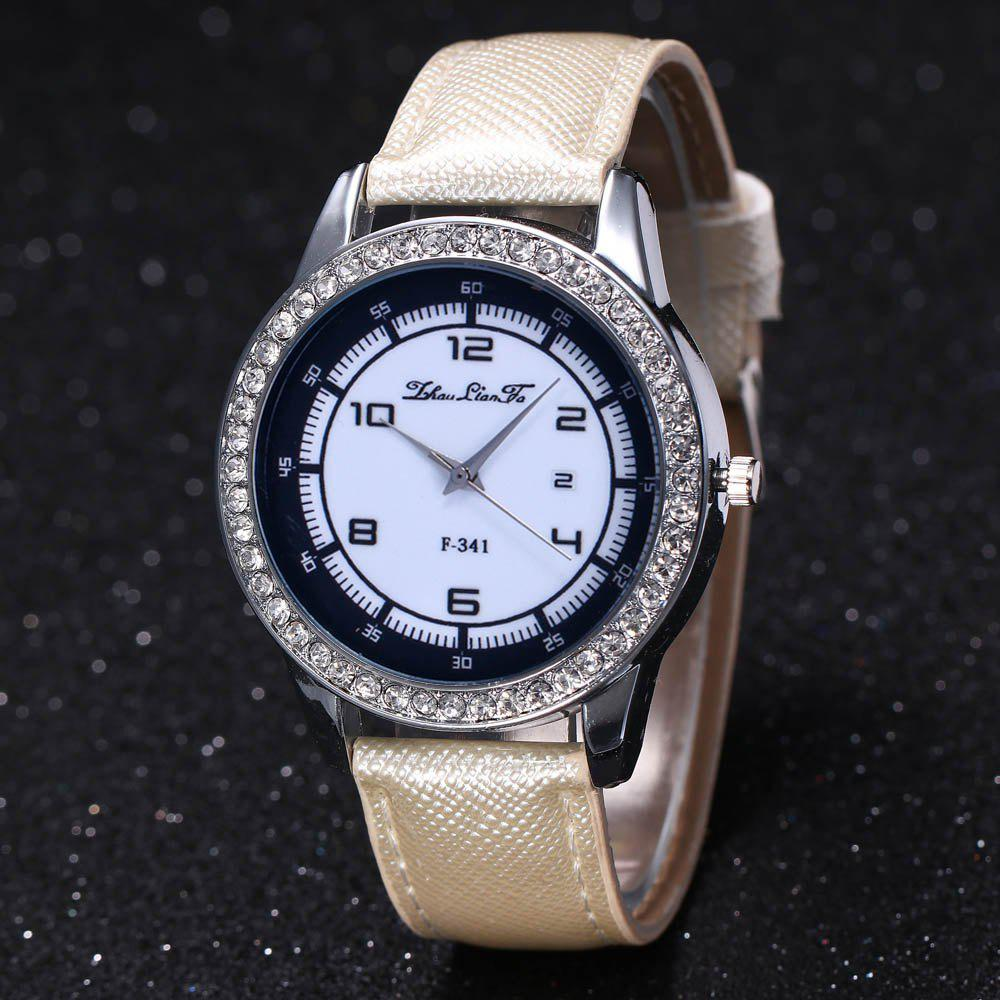 ZhouLianFa New Trend of Diamond Crystal Grain Business Casual Black and White Quartz Watch with Gift Box - WHITE