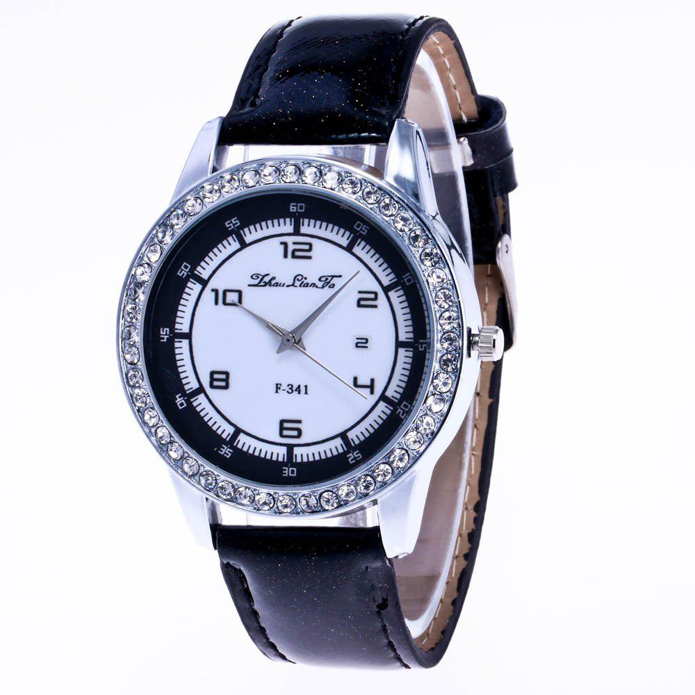 ZhouLianFa New Trend of Diamond Crystal Grain Business Casual Black and White Quartz Watch with Gift Box - BLACK