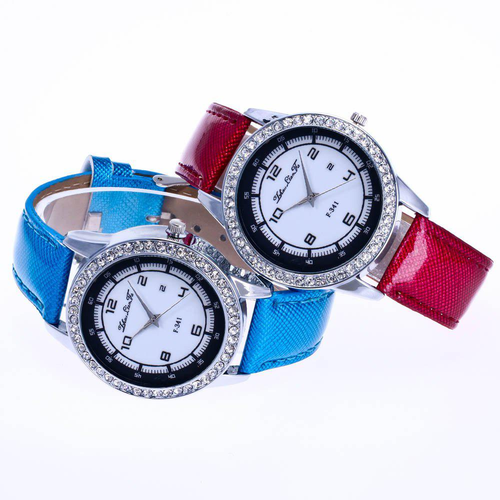 ZhouLianFa New Trend of Diamond Crystal Grain Business Casual Black and White Quartz Watch with Gift Box - CLARET
