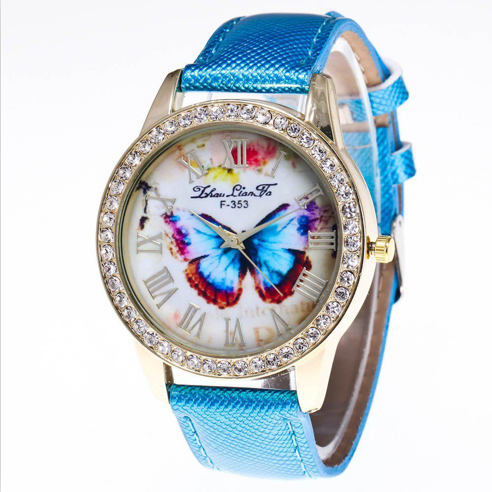 ZhouLianFa New Trend Diamond Crystal Gold Business Casual Butterfly Stone Table with Gift Box - BLUE