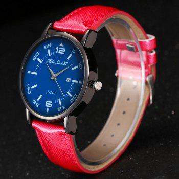 ZhouLianFa New Fashion Crystal Grain Leather Strap Ladies Business Quartz Watch - ROSE RED