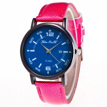 ZhouLianFa New Fashion Crystal Grain Leather Strap Ladies Business Quartz Watch - ROSE RED ROSE RED