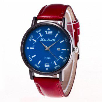 ZhouLianFa New Fashion Crystal Grain Leather Strap Ladies Business Quartz Watch - CLARET CLARET