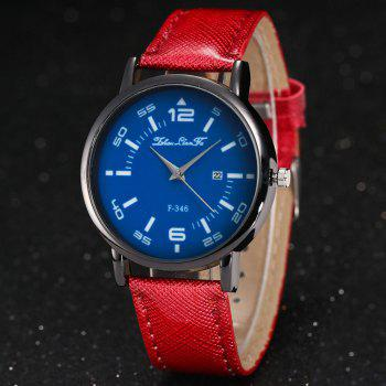 ZhouLianFa New Fashion Crystal Grain Leather Strap Ladies Business Quartz Watch -  CLARET