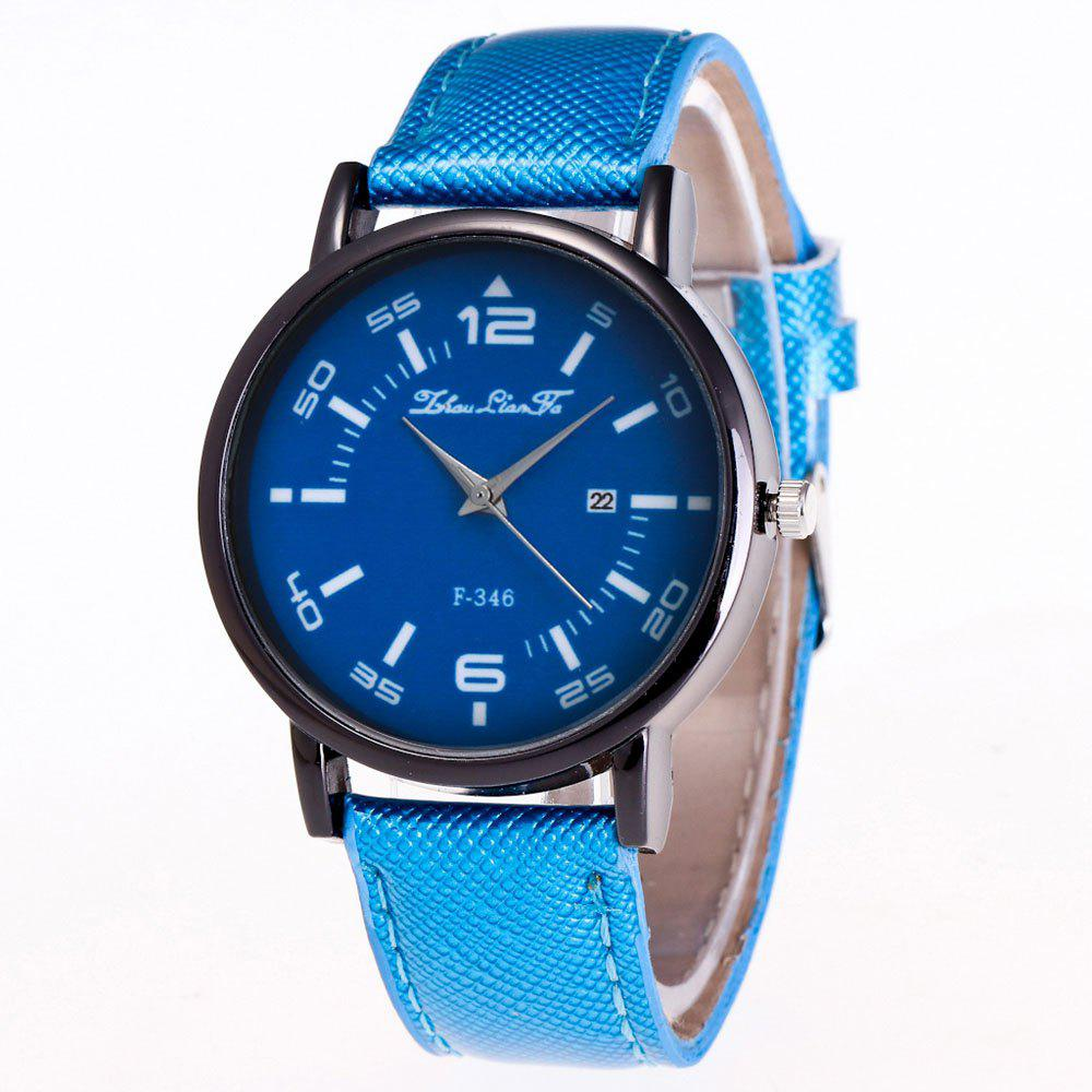 ZhouLianFa New Fashion Crystal Grain Leather Strap Ladies Business Quartz Watch - BLUE