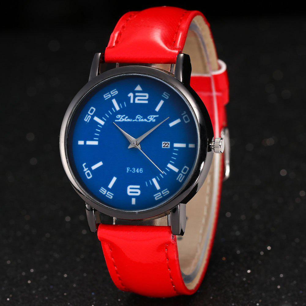 ZhouLianFa New Fashion Crystal Grain Leather Strap Ladies Business Quartz Watch - RED