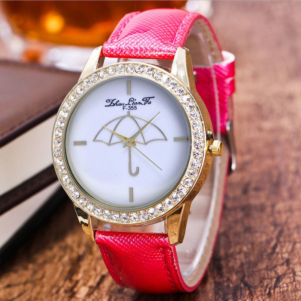 ZhouLianFa The New Trend of Diamond-Studded Gold Crystal Pattern Business Leisure Umbrella Stone Table with Gift Box - ROSE RED