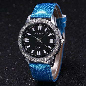 ZhouLianFa New Crystal Grain Leather Strap Silver Dial Diamond Ladies Leisure Quartz Watch with Gift Box -  BLUE