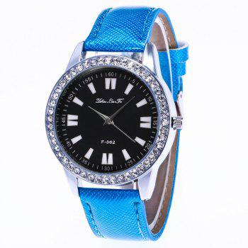 ZhouLianFa New Crystal Grain Leather Strap Silver Dial Diamond Ladies Leisure Quartz Watch with Gift Box - BLUE BLUE