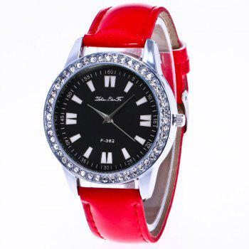 ZhouLianFa New Crystal Grain Leather Strap Silver Dial Diamond Ladies Leisure Quartz Watch with Gift Box - RED RED
