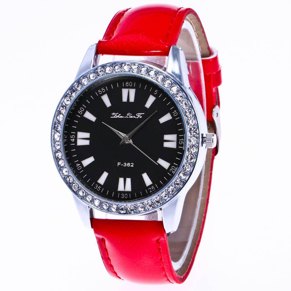 ZhouLianFa New Crystal Grain Leather Strap Silver Dial Diamond Ladies Leisure Quartz Watch with Gift Box - RED