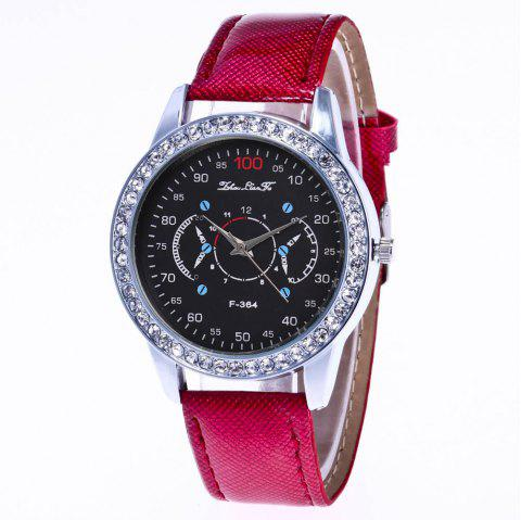 ZhouLianFa New Stylish Crystal Grain Leather Strap Silver Dial Diamond Ladies Business Quartz Watch with Gift Box - CLARET