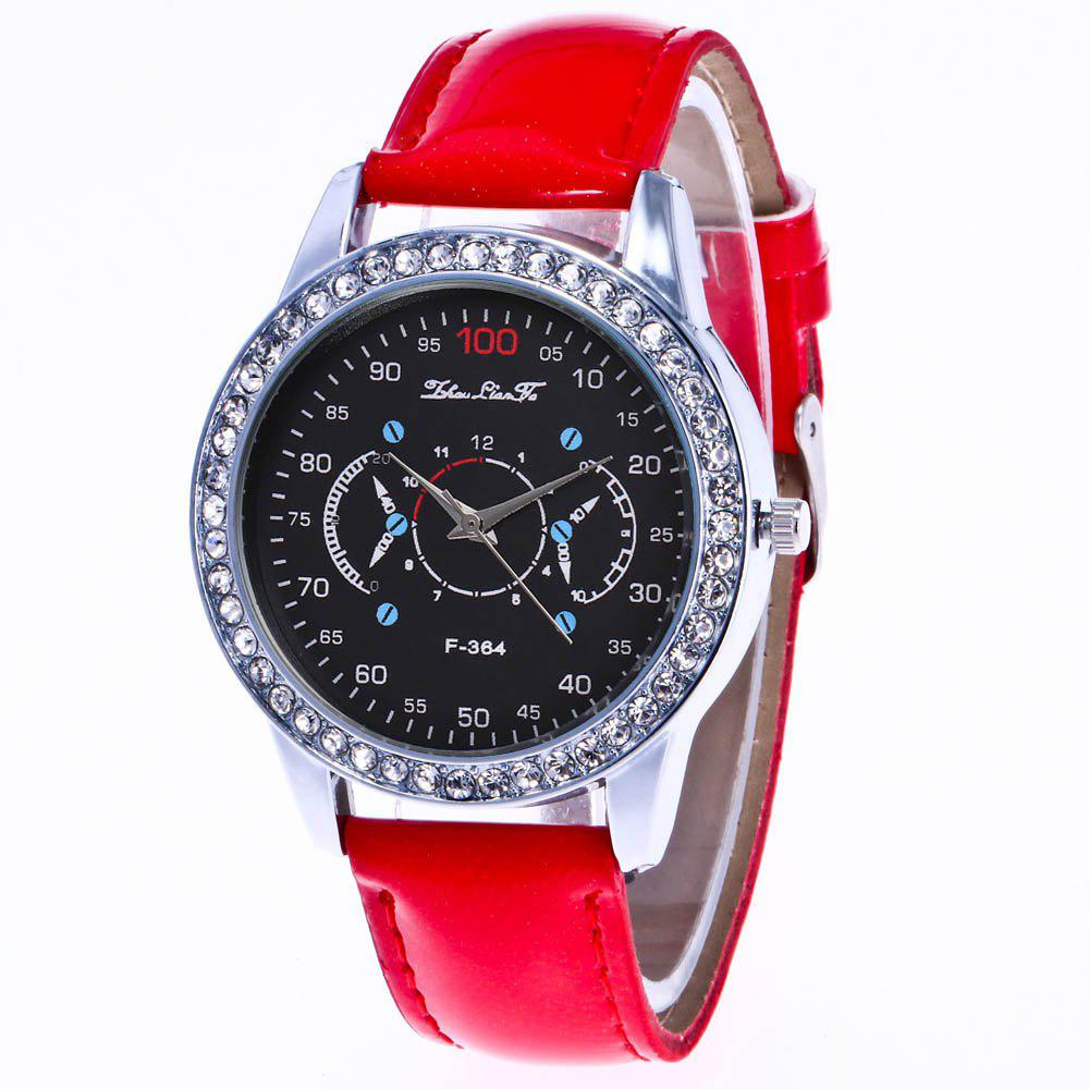 ZhouLianFa New Stylish Crystal Grain Leather Strap Silver Dial Diamond Ladies Business Quartz Watch with Gift Box - RED