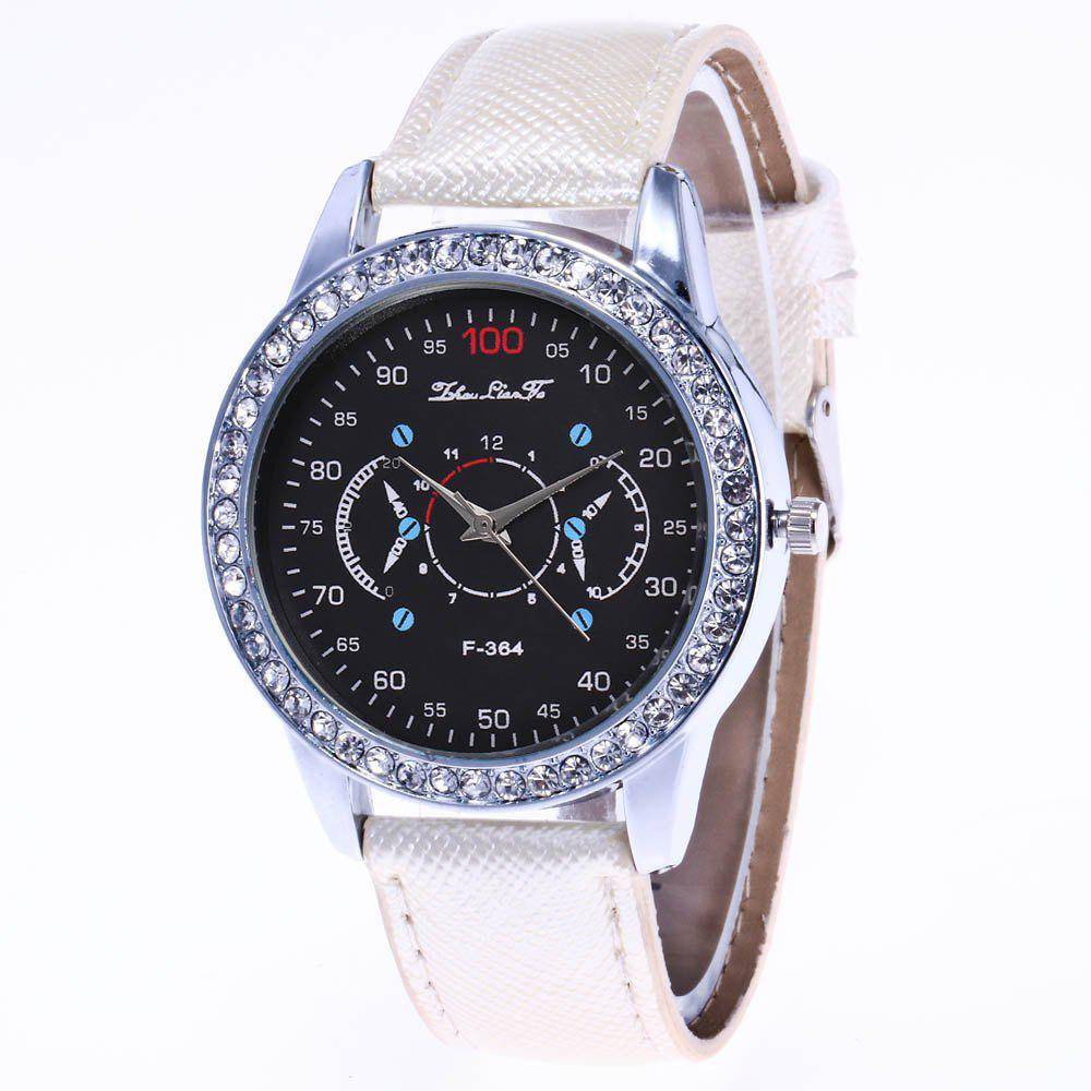 ZhouLianFa New Stylish Crystal Grain Leather Strap Silver Dial Diamond Ladies Business Quartz Watch with Gift Box - WHITE
