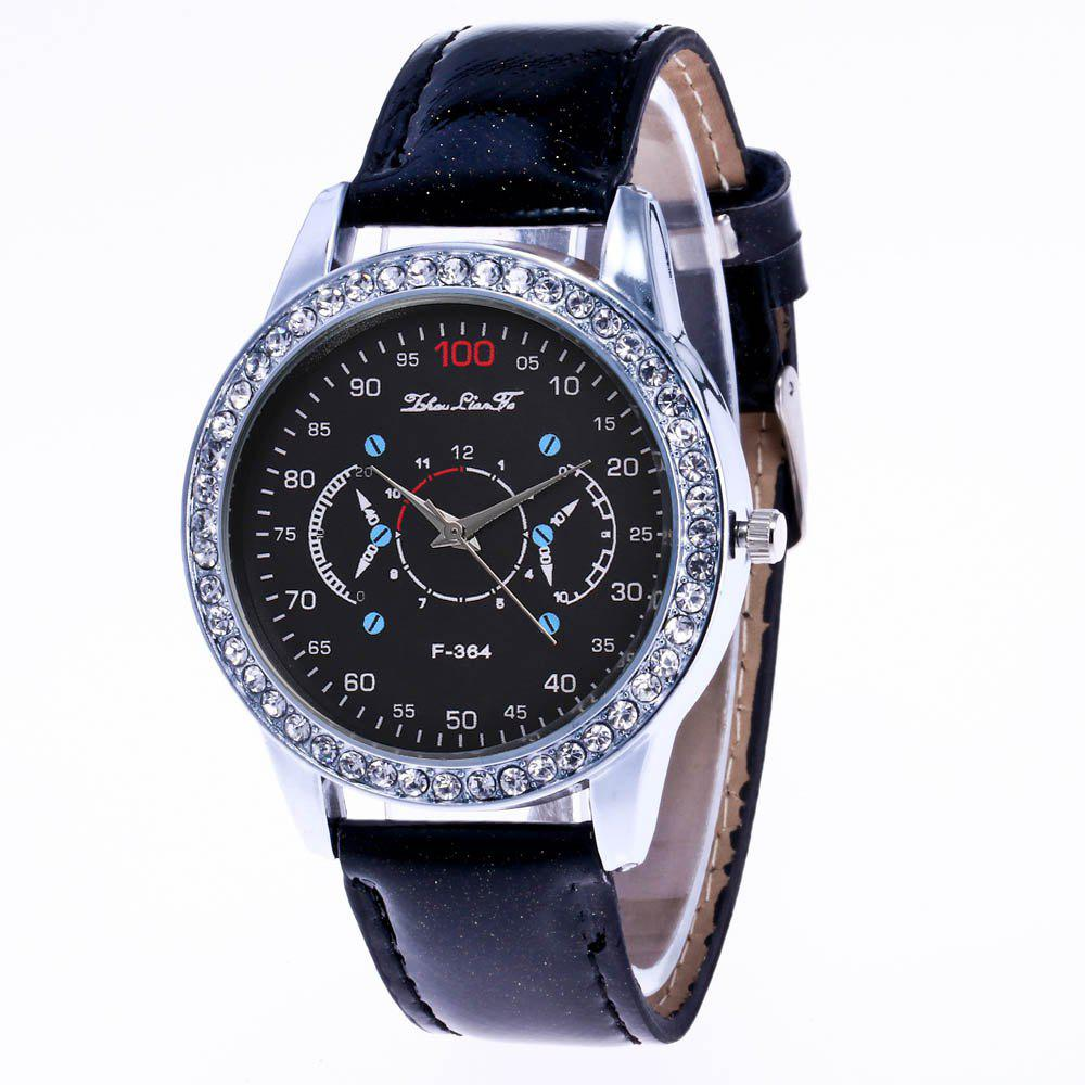 ZhouLianFa New Stylish Crystal Grain Leather Strap Silver Dial Diamond Ladies Business Quartz Watch with Gift Box - BLACK