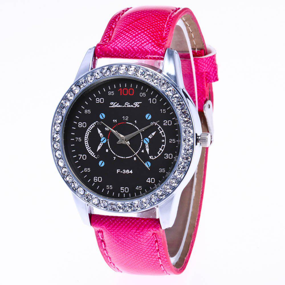 ZhouLianFa New Stylish Crystal Grain Leather Strap Silver Dial Diamond Ladies Business Quartz Watch with Gift Box - ROSE RED