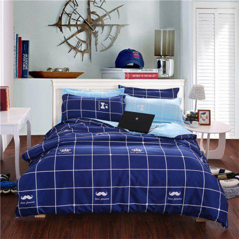 Aloe Vera Cotton Crown Two Colors Grid Three-Piece Bedding Sets - ROYALBLUE