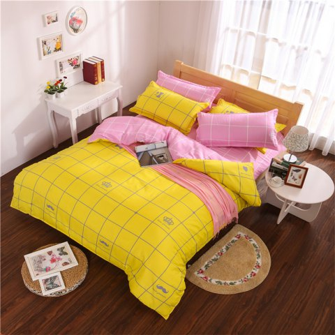 Aloe Vera Cotton Crown Two Colors Grid Three-Piece Bedding Sets - YELLOW PINK
